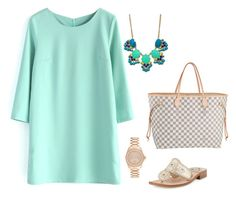 """""""Preppy In Teal"""" by elizabeth-southern-prep ❤ liked on Polyvore featuring Chicwish, Louis Vuitton, Michael Kors and Jack Rogers"""