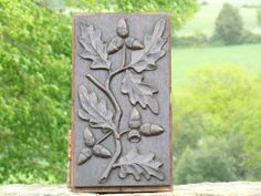 Early 19th century Black Forest oak wood panel carved with oak leaves and acorns