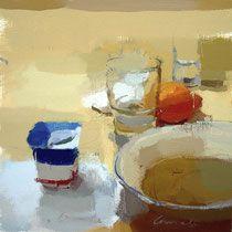 Yogurt y naranja.  25x25 cm.