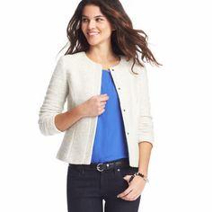 Loft Textured Knit Collarless Jacket