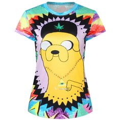 Yellow Womens Crew Neck Cartoon Adventure Time Jake Print T-shirt ($11) ❤ liked on Polyvore featuring tops, t-shirts, shirts, yellow, crew shirt, crew-neck tee, yellow shirt, tee-shirt and cartoon t shirts