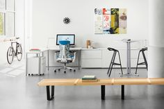 Studio with Herman Miller Nelson Platform Benches, Everywhere Tables, Tu Storage, Stool_One and Embody Chair.