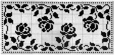 Free Printable Filet Crochet Patterns | Roses in Filet Crochet Pattern