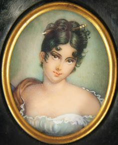 Antique Hand Painted Miniature Portrait of Young Lady