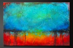 """Abstract contemporary painting, modern bold colors. Red, orange, yellow, turquoise, aqua, blue, black.  """"Oxidized Metal"""" series.  artist Charlen Williamson"""