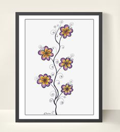 Colorful Flowers Wall Decor - Original Drawing - Christmas Gift Idea / Fantasy Art / Original Painting / Home & Wall decor https://www.etsy.com/listing/204591044/colorful-flowers-wall-decor-original?ref=shop_home_active_1
