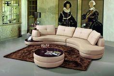 108 Modern Beige Leather Sectional Sofa - L A Furniture