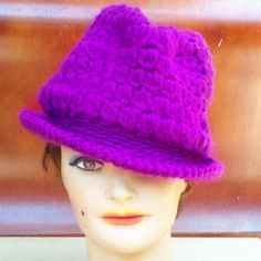 Strawberry Couture Hat - Crochet for Women - Fedora Purple - Stylish Unique Unusual Accessories by  strawberrycouture, $50.00