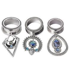 PAIR Silver Gauge Stainless Steel CZ Dangle Ear Plug Screwed Tunnel Body Jewelry    eBay