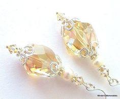 Golden shadow crystal earrings freshwater pearls by Mindielee