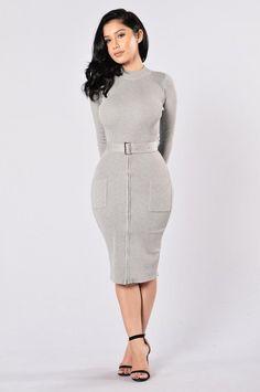 Minimal Effect Dress - Heather Grey