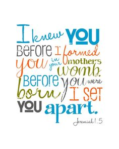I Knew You Before I Formed You Jeremiah by LibertyAndLilacPaper