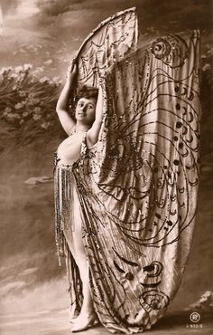 Burlesque Butterfly Cabaret Star Glamour Mysterious Fantasy Costume Risqué Vaudeville Love Wings, Original RARE 1900s Antique Photo Postcard