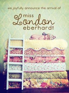 Love this idea for a baby announcement/photo shoot.  Princess and the Pea.  For twins, I'd totally put the girl on the top of the mattress with a little crown and the boy on the floor in a little peapod costume.  :)