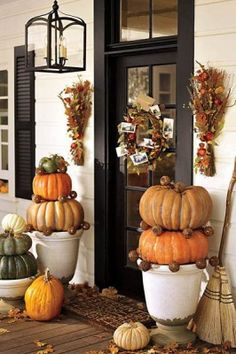 Leaves & double flower sconces/hangings... Pottery Barn Fall Porch