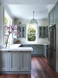Farmhouse Kitchen Cabinets, Modern Farmhouse Kitchens, Kitchen Cabinet Design, Kitchen Interior, New Kitchen, Home Interior Design, Kitchen Decor, Kitchen Ideas, Kitchen Countertops