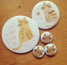 Emma Carlisle Cat Lady Club -- Do you earn the little pins as you become the owner of more and more cats? Either way, love it!