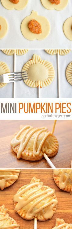 These mini pumpkin pie pops are SO CUTE! They have all the flavours of pumpkin pie with an amazing maple sugar glaze on top. A perfect treat idea for Halloween or Thanksgiving! Informations About Mini Pumpkin Pies Pumpkin Recipes, Fall Recipes, Holiday Recipes, Pumpkin Pie Cookies Recipe, Fun Recipes For Kids, Halloween Food Ideas For Kids, Sukkot Recipes, Quick Recipes, Christmas Recipes