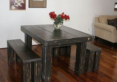 4 foot Dining room set / Parson table with benches. $499.00, via Etsy.
