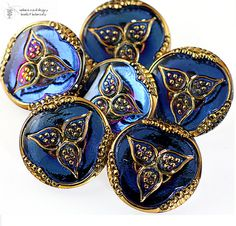 Czech Glass Button Vintage Press in Blue and Gold by LampworkBeads, $3.75
