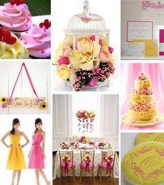 Decoração casamento rosa e amarelo (2)