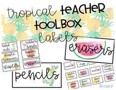 Teacher Toolbox Labels: Tropical Theme by Fairways and Chalkboards | Teachers Pay Teachers