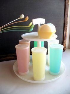 Vintage Tupperware Tumblers Lids Caddy Coasters by MrsRekamepip, $32.00. Wow haven't seen these in ages.