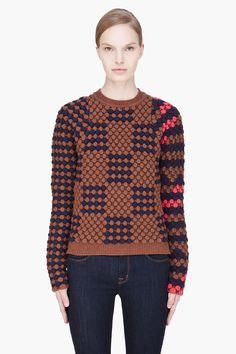 KENZO Brown combo textured sweater