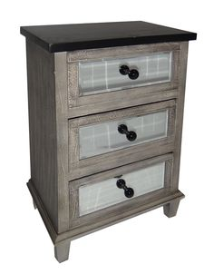 """Features:  -Material: Wood.  -Drawer stoppers.  -Beveled mirrors.  Base Material: -Solid Wood. Dimensions:  Overall Height - Top to Bottom: -27.25"""".  Overall Width - Side to Side: -19"""".  Overall Depth"""