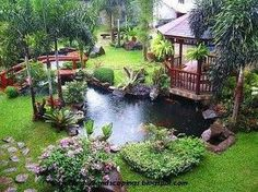 Garden with Gazebo and Pond - So Tranquil #NoelitoFlow . Repin & Like and… #LittleGardenDesign