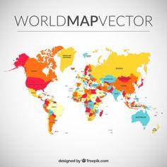 Color mapa del mundo Vector Gratis