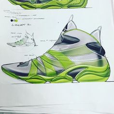 In this sketch you can tell how it evolved from the smaller one on the top left. You are also able to see the colors that are used when they are not on the shoe. There is notes on the picture pointing out important information. The design of the shoe is very modern and sleek