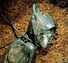 Tollund man bog body with skin cap 220- 40BCE. Presently kept at the Silkeborg Museum, Denmark.