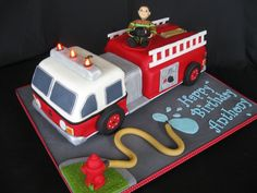 This would be a really cool grooms cake for Jason but just with a green fire truck!!!