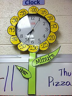 Love this clock idea!  The hour hand leaf is little and the minute hand is longer, good reference and something you already have in your classroom and use daily.