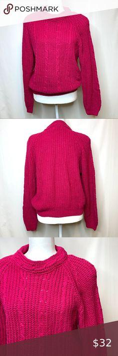 Vintage S M Knit Sweater Top Shirt Dusty Pink Ornate Floral Crop Pearls Embellished Broad Shoulder