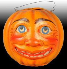 Moon Face Halloween Parade Jack-O'-Lantern ca. late-1800s.  Made in Germany.  Value: $2,875 (Morphy Auctions - 9/08)