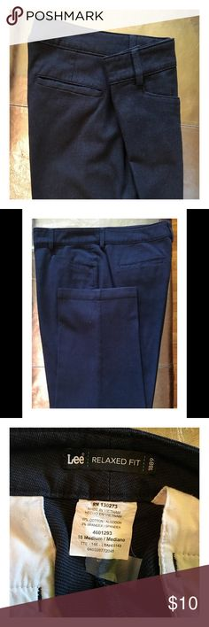 """Lee Relaxed Fit Pants EUC Always used as work pants so they were always sent to the cleaners for a polished look. They have a great fit if you have a heavier upper leg which is why I have 6 pairs  Very easy to style for the office or a lunch/movie date. I've lost weight  and sadly they no longer fit me  My loss is you gain. In all I have 6 pairs that have to go! 16M, inseam measures 31 with a 1""""hem.  Smoke free, pet free and freshly dry cleaned Lee Pants Trousers"""