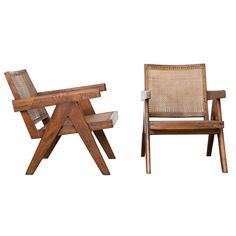 Pierre Jeanneret Pair of Lounge Chairs, circa 1955 | From a unique collection of antique and modern armchairs at https://www.1stdibs.com/furniture/seating/armchairs/