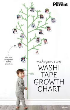Do you know about washi tape? It's a fun tape that adheres well without damaging walls. Available in an array of fun colours and patterns, read on to try one (or all) or our fun washi-inspired crafts. Tape Wall Art, Washi Tape Wall, Washi Tape Crafts, Tape Art, Baby Wall, Room Deco, Deco Kids, Todays Parent, Duct Tape