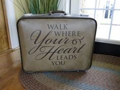 How cool! Add an #uppercaseliving #vinyl expression to an old #suitcase for a whole new look!  #upcycle #repurpose #vintage #antique #ultorreh