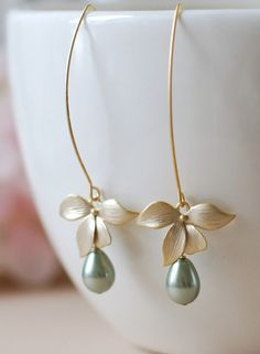 Gold Flower Sage Green Pearls Earrings