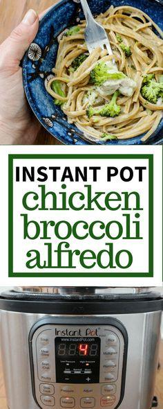 4 Minute Instant Pot Chicken Broccoli Alfredo Pasta via @allyscooking