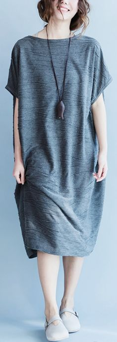 women-gray-cotton-polyester-dresses-oversize-o-neck-cotton-dresses-boutique-short-sleeve-caftans1