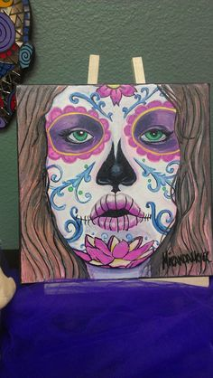 Day of the Dead Dia de los muertos Painting by cherrywaves0123 on Etsy https://www.etsy.com/listing/112260655/day-of-the-dead-dia-de-los-muertos
