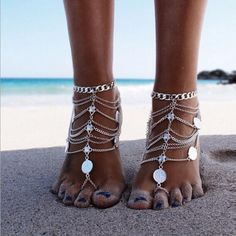 This listing is for A PAIR of chained bohemian barefoot sandals, as pictured above. The sandals are handcrafted using silver plated chains on each pair of the sandals. The sandals sits comfortably on