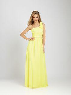 2012 Allure Bridesmaids - Lemon Chiffon Ruched & Ruffled One Shoulder Bridesmaid Dress - 2 - 28