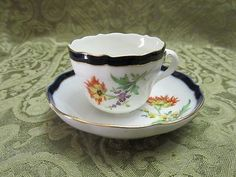 Meissen Demitasse Cup & Saucer Floral Cobalt & Gold Trim Pristine