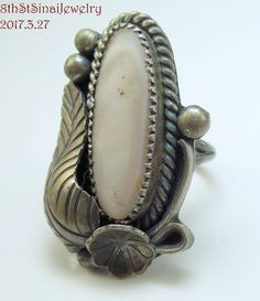 Early WD Navajo Sterling Silver 925 MOP Flower Leaf Berry Ring Size 8