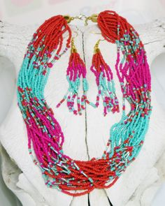 Cowgirl Bling Southwest Coral PInk Multi strand Indian style Bead necklace set BAHA ranch western wear
